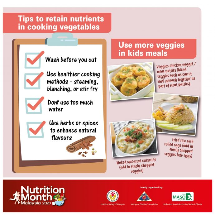Tips to retain nutrients in cooking vegetables.