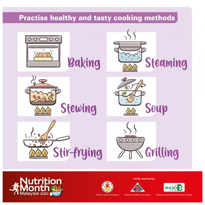 Practise healthy and tasty cooking methods.